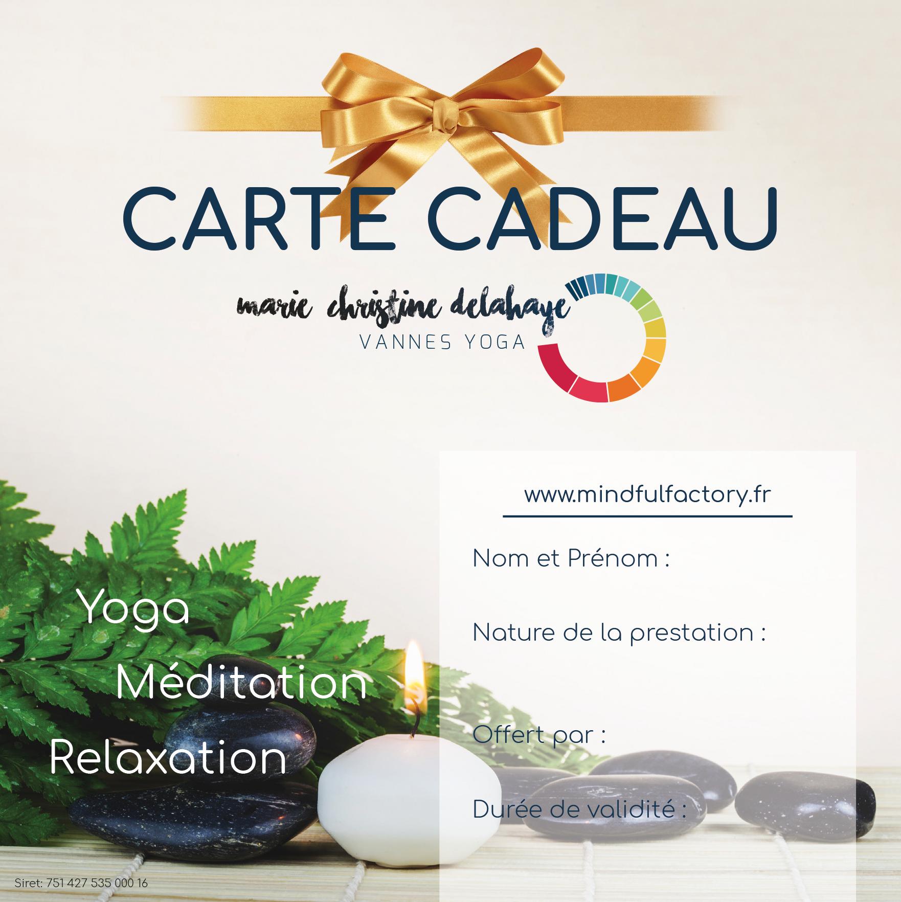 carte cadeau yoga méditation…pour prendre soin de ceux qu'on aime.